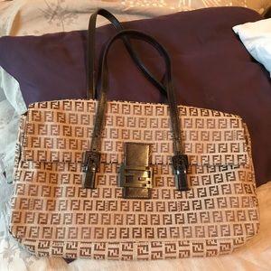 Authentic Large Fendi zucca shoulder bag